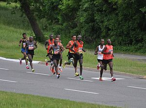 Ottawa Race Weekend - 2011 and 2012 winner, Laban Moiben, leading the race through the 18 km mark during the 2012 event