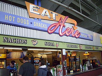 Concession stand - A concession stand at Providence Park in Portland, Oregon. Concession stands are a main fixture at sporting venues.