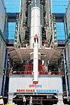 PSLV C43 - HySIS launch campaign, first stage integration in progress.jpg