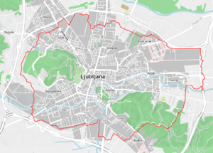 Trail of Remembrance and Comradeship - The trail marked in red on an OpenStreetMap of Ljubljana