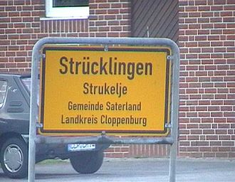 Saterland - A bilingual German-Saterland Frisian roadsign