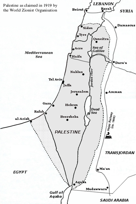 Zionist state as claimed at the Paris Peace Conference Palestine claimed by WZO 1919.png
