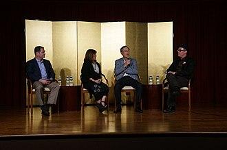 "Masanori Murakami - On July 20, 2018, at the Japan Information and Cultural Center, in Washington, DC, ̪l to Rˈ Robert Fitts, Yuriko Gamo Romer, Masanori ""Mashi"" Murakami, Adam,  discussed U.S.-Japan baseball relations."