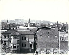 Panoramic view looking northwest from the vicinity of Pine St and 2nd Ave, Seattle, Washington, ca 1908 (HESTER 11).jpeg