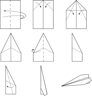 Paper plane on helicopter parts diagram