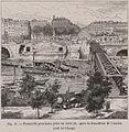 Passerelle provisoire jetée en 1858-59, après la démolition de l'ancien Pont au change.jpg