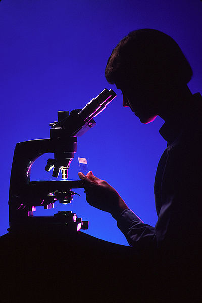 File:Pathologist with microscope.jpg