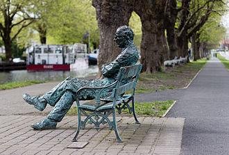 Baggot Street - Patrick Kavanagh sculpture by the Grand Canal near Baggot Street bridge