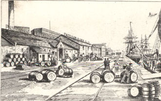 Pattison's whisky - An engraving of Pattisons Whisky barrels on the docks at Leith
