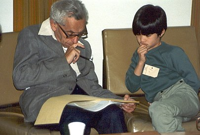 Number theorists Paul Erdos and Terence Tao in 1985, when Erdos was 72 and Tao was 10. Paul Erdos with Terence Tao.jpg