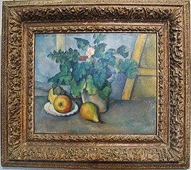 Pot de primevères et fruits