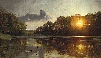 Peder Mørk Mønsted - Image: Peder Mønsted Sunset over a forest lake
