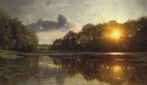 Peder Mønsted - Sunset over a forest lake