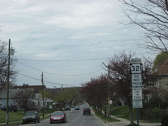 Pennsylvania Route 321 - PA 321 northbound on Hacker Street in Kane