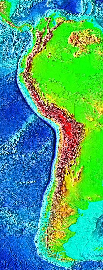 Oceanic trench - The Peru–Chile Trench is located just left of the sharp line between the blue deep ocean (on the left) and the light blue continental shelf, along the west coast of South America. It runs along an oceanic-continental boundary, where the oceanic Nazca Plate subducts beneath the continental South American Plate
