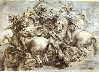 Battle of Anghiari - Peter Paul Rubens's copy of Leonardo da Vinci's The Battle of Anghiari. Allegedly from left to right is Francesco Piccinino; Niccolò Piccinino; Ludovico Trevisan; Giovanni Antonio del Balzo Orsini