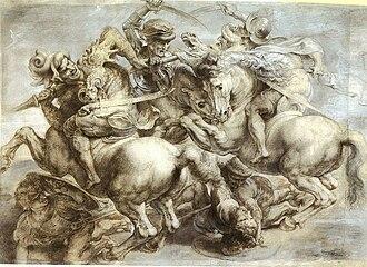 Giovanni Antonio Del Balzo Orsini - Peter Paul Rubens's copy of The Battle of Anghiari by Leonardo da Vinci. Allegedly the 2 knights at right are Ludovico Trevisan and Giovanni Orsini.