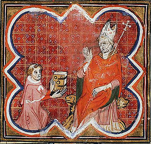 William of the White Hands - Petrus Comestor (d. c. 1178) presents his Historia scholastica to Archbishop William of the White Hands. From a Bible Historiale of 1370-80, which mixed sections of the Historia with sections of the Vulgate Bible