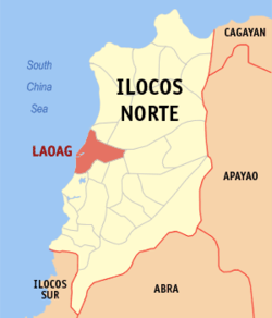 Map of Ilocos Norte with Laoag highlighted