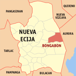 Map of Nueva Ecija showing the location of Bongabon