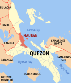 Map of Quezon showing the location of Mauban