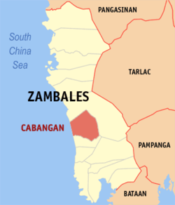 Map of Zambales showing the location of Cabangan
