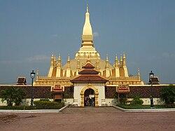Pha That Luang, uno stupa buddista ricoperto d'oro a Vientiane e un simbolo nazionale del Laos