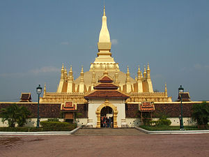 Religion in Laos - The Pha That Luang (Golden Stupa), a Buddhist stupa that is a national symbol of Laos.