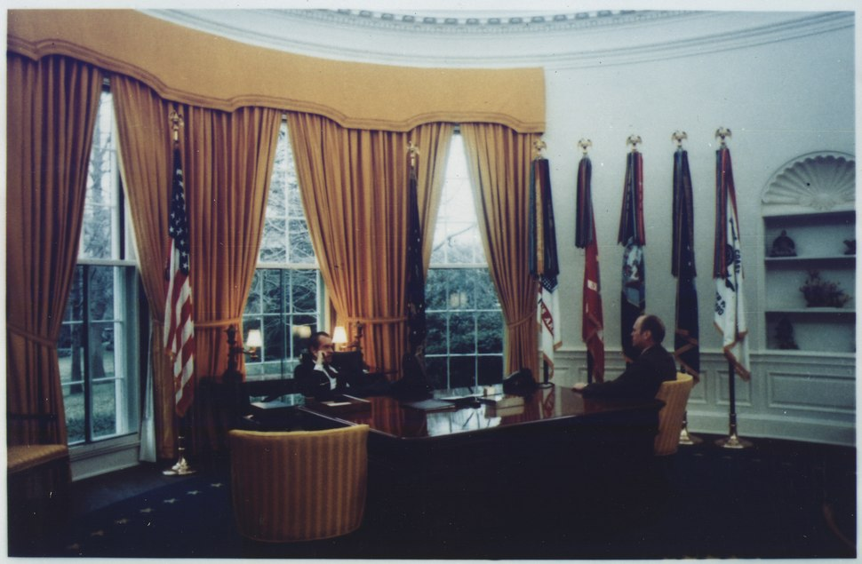 Photograph of President Richard M. Nixon and Representative Gerald R. Ford in the Oval Office Prior to the Nomination... - NARA - 186969.tif