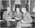 Photograph of President Truman with John McCloy, U.S. High Commissioner for Germany (center), and Secretary of State... - NARA - 200186.tif
