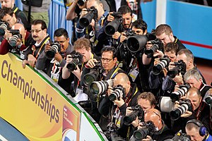 Photographer - 2012 IAAF World Indoor Championships photographer stand.