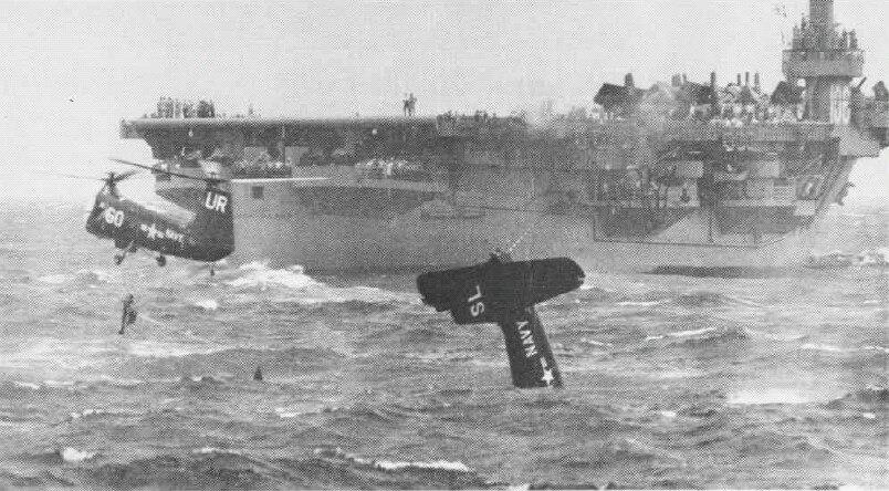 Piasecki HUP of HU-2 rescues pilot near USS Block Island (CVE-106) on 12 August 1953