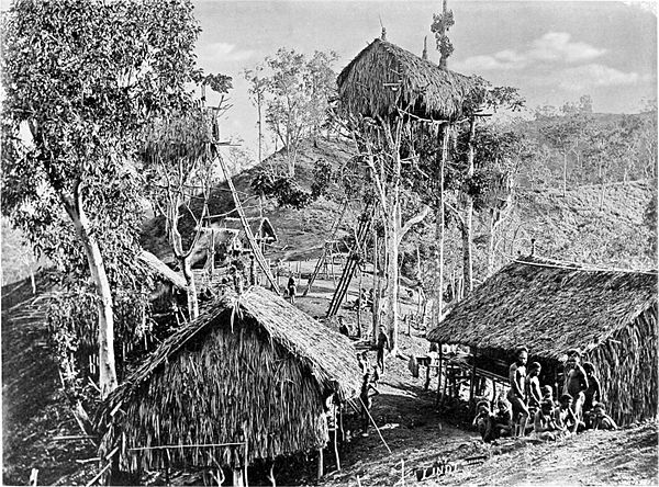 Black and white photograph of a village of huts, some on the ground and some in trees.
