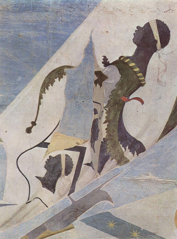 """Stemma della famiglia Pucci. Dettaglio dal ciclo di affreschi della """"Leggenda della santa Croce"""" nel coro della Basilica di San Francesco ad Arezzo"""