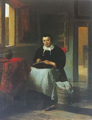 Woman busy sewing in an interior