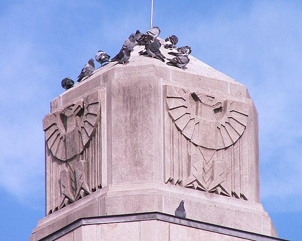 Pigeons and Art Deco eagle reliefs, Mount Lebanon Municipal Building