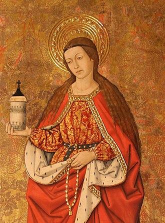 Santa María la Mayor (Alcañiz) - Gothic painting of St. Mary Magdalene.