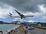 Plane watching from Maho Beach, St Maarten, Oct 2014 (15754703091).jpg