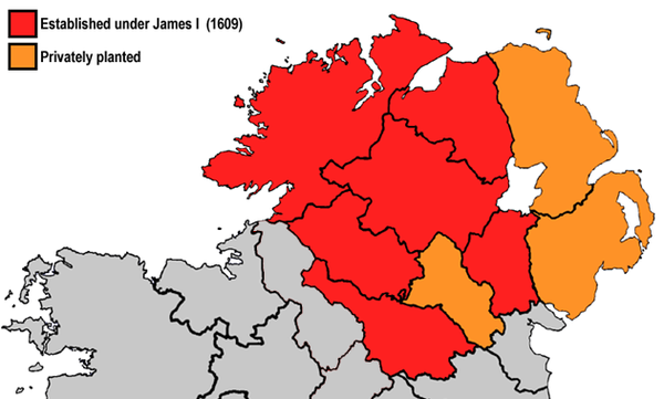 The counties of Ulster (modern boundaries) that were colonised during the plantations. This map is a simplified one, as the amount of land actually colonised did not cover the entire shaded area. Plantation of Ulster.png