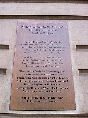Smith's Bank - Plaque on Smith's Bank in Nottingham