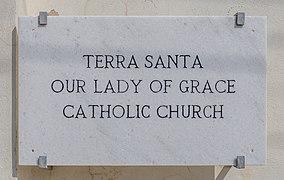 Plaque on Terra Santa Our Lady of Grace Catholic Church, Larnaca, Cyprus.jpg