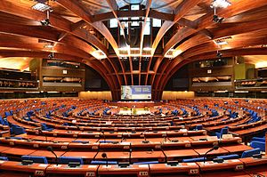 Parliamentary Assembly of the Council of Europe - Image: Plenary chamber of the Council of Europe's Palace of Europe 2014 01