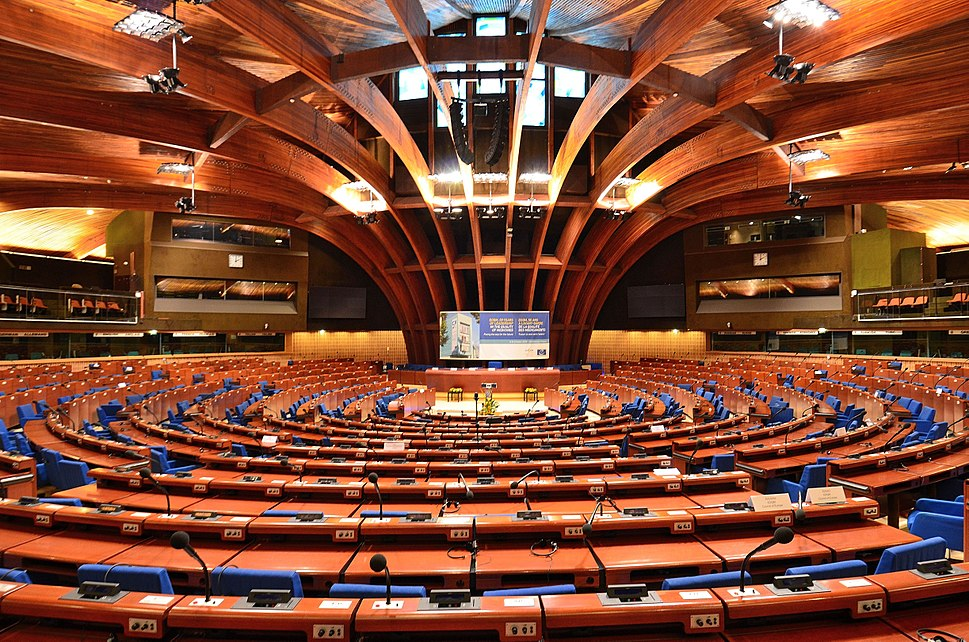 Plenary chamber of the Council of Europe%27s Palace of Europe 2014 01