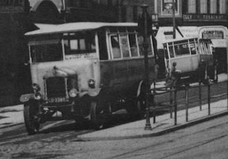 Plymouth Citybus - Two of the Corporation's first buses at the Theatre terminus in the early 1920s