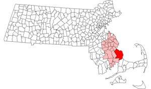 Neighborhoods in Plymouth, Massachusetts - Location of Plymouth within the state of Massachusetts.