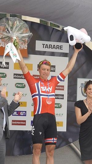 2013 Critérium du Dauphiné - Image: Podium de la 3e étape à Tarare (17)