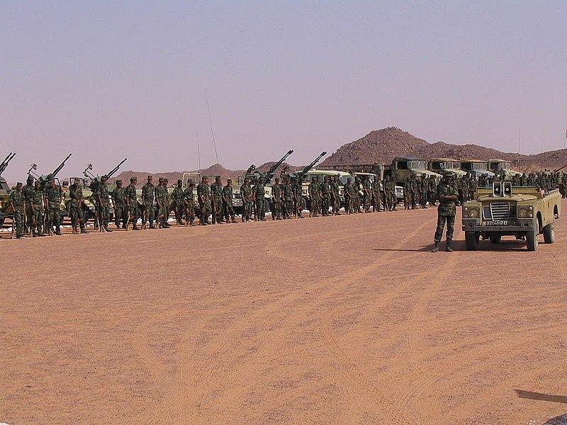 Tropas del Frente Polisario en Tifariti (Sáhara Occidental) celebrando el 32 aniversario de su creación en 2005. Autor:  Saharauiak, 21/05/2005. Fuente: Flickr (CC BY-SA 2.0.)