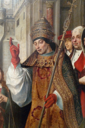 Pope Siricius - A detail of the Saint Auta Reredos depicting the Pope (referenced as Cyriacus in the legend of Saint Ursula). National Museum of Ancient Art, Lisbon, Portugal.