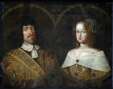 Double portrait of Frederik III of Denmark and his wife Sofia Amalia of Braunschweig-Lyneburg, probably painted shortly after their marriage 1643. Portratt, Frederik III och Sofia Amalia - Skoklosters slott - 85014.tif