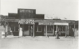 Lake George, Colorado - Post office and store in Lake George, early 1900s